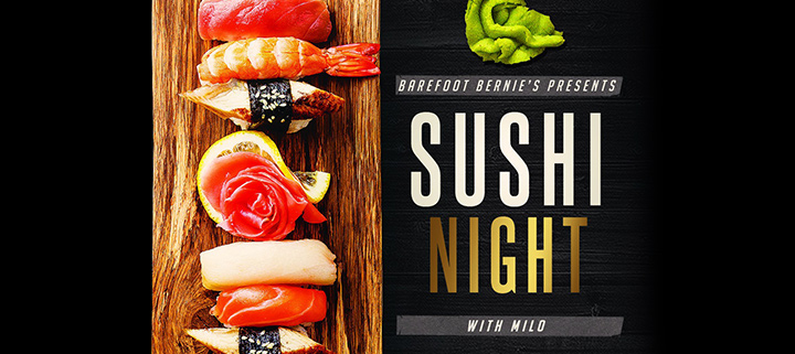 Outer Banks restaurant specials - sushi and ramen at Barefoot Bernies