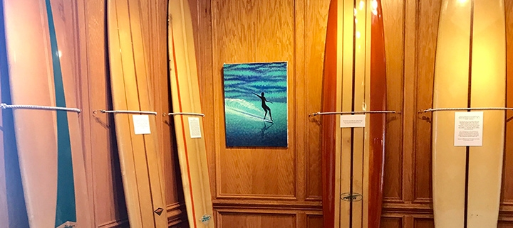 Outer Banks art gallery exhibits - surfboard exhibit - Dare County Arts Council
