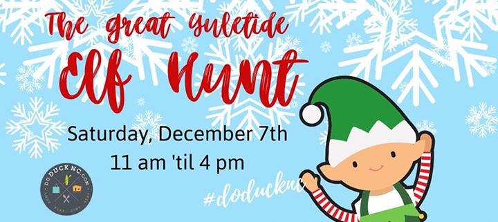 Outer Banks holiday events - Duck NC Yuletide Celebration - Elf Hunt - shopping
