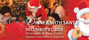 Winterlights and Dinner with Santa combo at Elizabethan Gardens