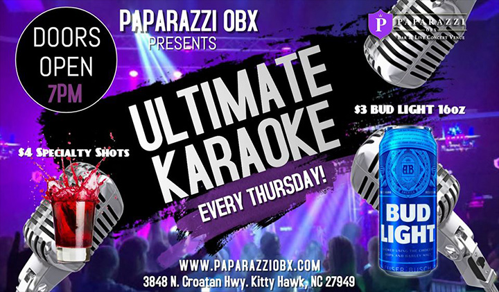 Outer Banks events - karaoke at Paparazzi OBX
